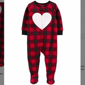 NWT Carter's Red Plaid Heart Fleece Footie - 4T